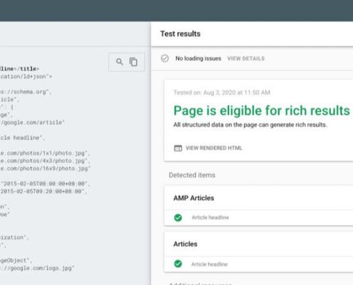 Strumento di test dei risultati multimediali: nuovo test markup articoli google search console