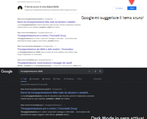 Arriva su Google desktop la dark mode in serp